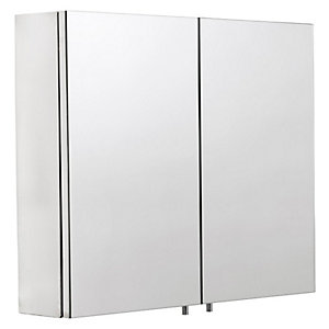 Croydex Folded Stainless Steel & MDF Carcass Double Door Bathroom Cabinet - 670 x 600mm