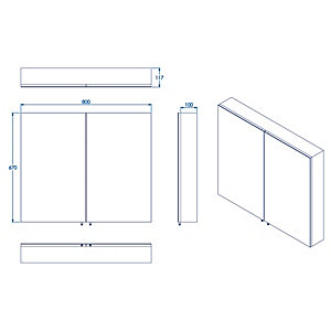 Croydex Folded Stainless Steel & MDF Carcass Double Door Bathroom Cabinet - 670 x 800mm