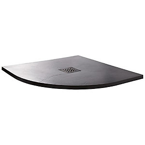 Wickes 35mm Black Textured Quadrant Shower Tray - 800mm