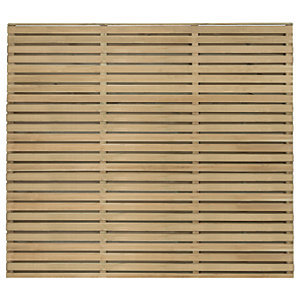 Image of Forest Garden Double Slatted Fence Panel 6 x 5 ft 4 Pack