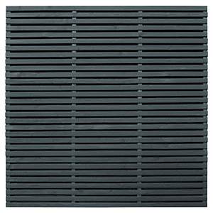 Image of Forest Garden Double Slatted Grey Fence Panel 6 x 6 ft 3 Pack