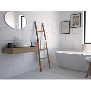 Wickes York Grey Ceramic Wall & Floor Tile 300 x 300mm