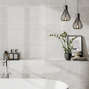 Wickes Rockford White Lappato Glazed Porcelain Wall & Floor Tile 595 x 295mm