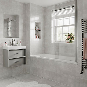 Wickes Alaska Grey Glazed Porcelain Wall & Floor Tile 600x600