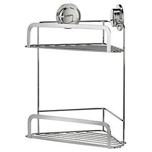 Croydex Stick&Lock 2 Tier Storage Corner Basket
