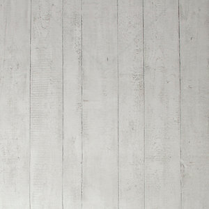 Contour White Wood Effect Kitchen & Bathroom Wallpaper - 10m