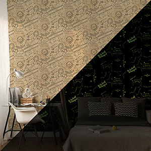 Harry Potter Glow in the Dark Mischief Managed Wallpaper 10m