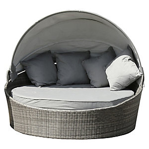 Charles Bentley Rattan Garden Day Bed with Canopy - Grey