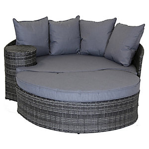 Charles Bentley Rattan Garden Day Bed with Foot Stool & Table - Grey