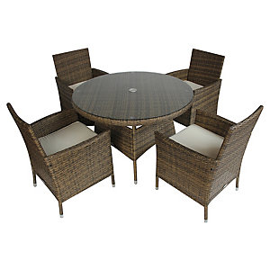 Charles Bentley 4 Seater Rattan Dining Set Natural
