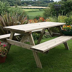 Charles Bentley FSC Timber Rectangular Picnic Table