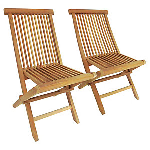 Charles Bentley 1 x Pair Of Teak Wooden Folding Chairs