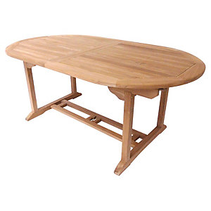 Charles Bentley 6-8 Seater Teak Extendable Wooden Oval Garden Table