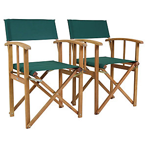 Charles Bentley FSC Eucalyptus 1 x Pair Of Wooden Director Chairs Green