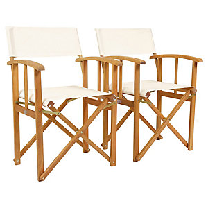 Charles Bentley FSC Eucalyptus 1 x Pair Of Wooden Director Chairs Cream