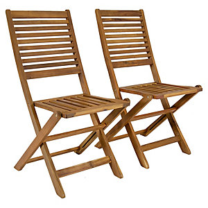 Charles Bentley FSC Acacia 1 x Pair Of Wooden Foldable Chairs