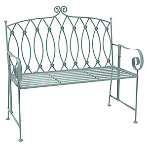 Charles Bentley Wrought Iron Bench Sage Green