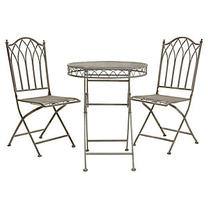 Charles Bentley Wrought Iron Bistro Set Grey