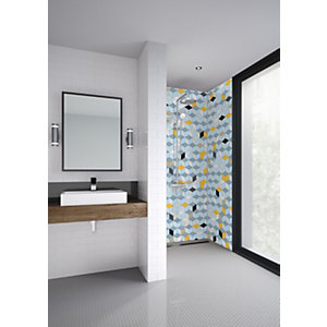 Mermaid Cubics Acrylic Single Shower Panel - 2440 x 1220mm