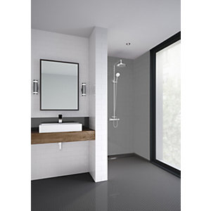 Mermaid Composite Grey Horizontal Tile Single Shower Panel - 1220 x 2440mm