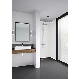 Mermaid Composite White Horizontal Tile Single Shower Panel - 2440 x 1220mm