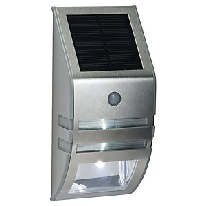 Saxby Willow Polished Stainless Steel & Clear Solar Wall Light