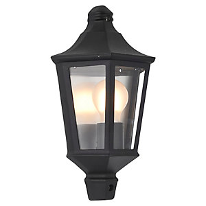 Saxby Naples Textured Black & Clear Glass Lantern