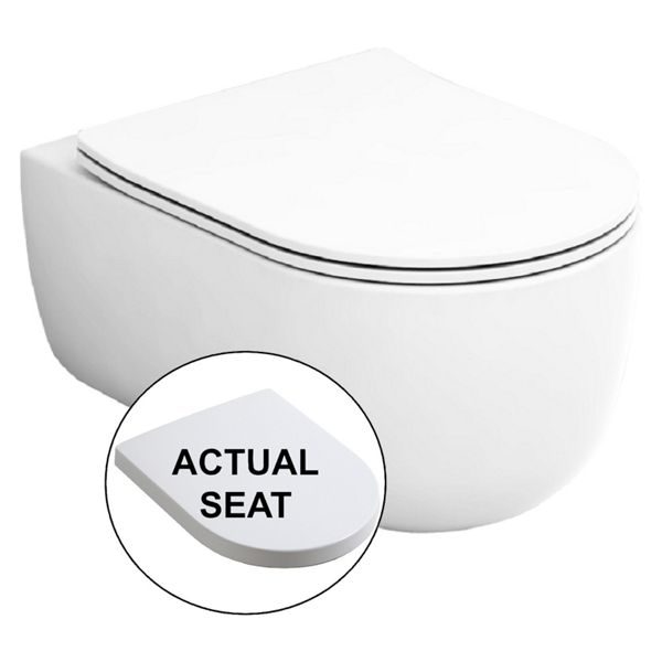 Wickes Teramo Easy Clean Wall Hung Toilet Pan & Soft Close Wrap Over Seat - 360mm
