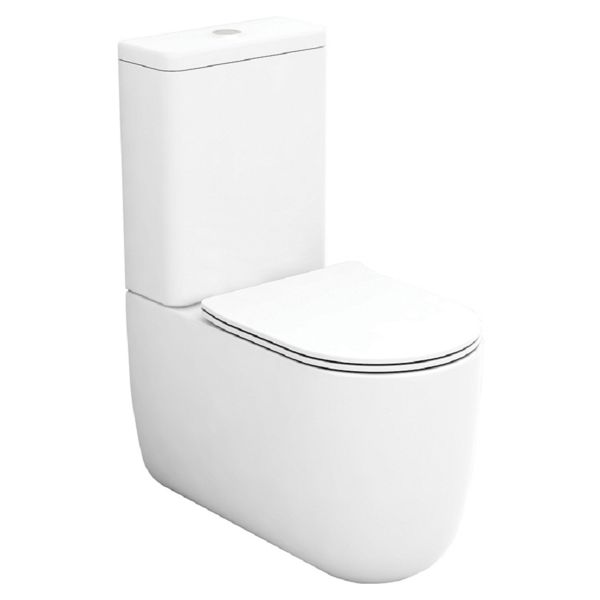 Wickes Teramo Easy Clean Close Coupled Toilet Pan & Soft Close Wrap Over Seat - 360mm