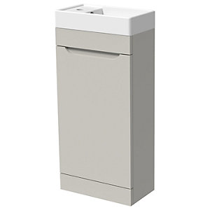 Wickes Malmo Light Grey Cloakroom Freestanding J Pull Vanity Unit & Basin - 850 x 400mm