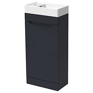 Wickes Malmo Indigo Blue Cloakroom Freestanding J Pull Vanity Unit & Basin - 850 x 400mm
