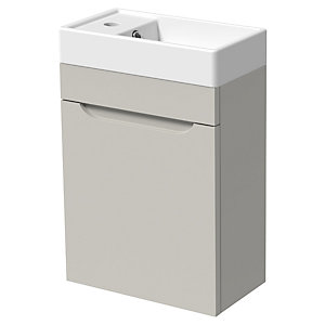 Wickes Malmo Light Grey Cloakroom Wall Hung J Pull Vanity Unit & Basin - 850 x 400mm