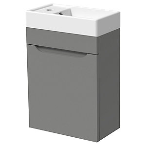 Wickes Malmo Dust Grey Cloakroom Wall Hung J Pull Vanity Unit & Basin - 850 x 400mm