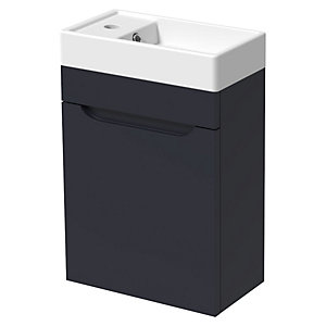 Wickes Malmo Indigo Blue Cloakroom Wall Hung J Pull Vanity Unit & Basin - 850 x 400mm
