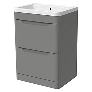 Wickes Malmo Dust Grey Freestanding J Pull Vanity Unit & Basin