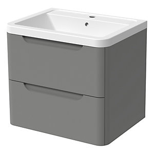 Wickes Malmo Dust Grey Wall Hung J Pull Vanity Unit & Basin