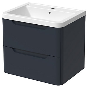 Wickes Malmo Indigo Blue Wall Hung J Pull Vanity Unit & Basin