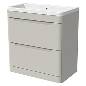 Wickes Malmo Light Grey Freestanding J Pull Vanity Unit & Basin - 850 x 800mm