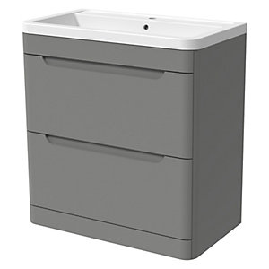 Wickes Malmo Dust Grey Freestanding J Pull Vanity Unit & Basin - 850 x 800mm