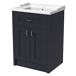 Wickes Hayman Indigo Blue Traditional Freestanding Vanity Unit & Basin