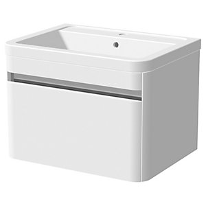 Wickes Radli White Gloss Wall Hung Vanity Unit & Basin - 500 x 600mm
