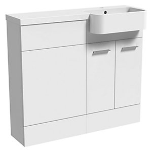 Wickes Geneva Grey P Shaped Right Hand Freestanding Vanity & Toilet Pan Unit with Basin