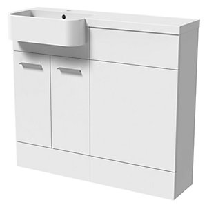 Wickes Geneva Grey P Shaped Left Hand Freestanding Vanity & & Toilet Pan Unit with Basin