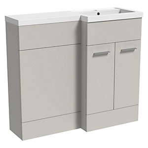 Wickes Geneva Grey L Shaped Right Hand Freestanding Vanity & Toilet Pan Unit with Basin