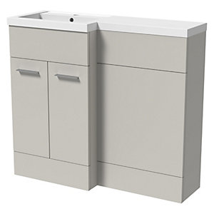 Wickes Geneva Grey L Shaped Left Hand Freestanding Vanity & Toilet Pan Unit with Basin