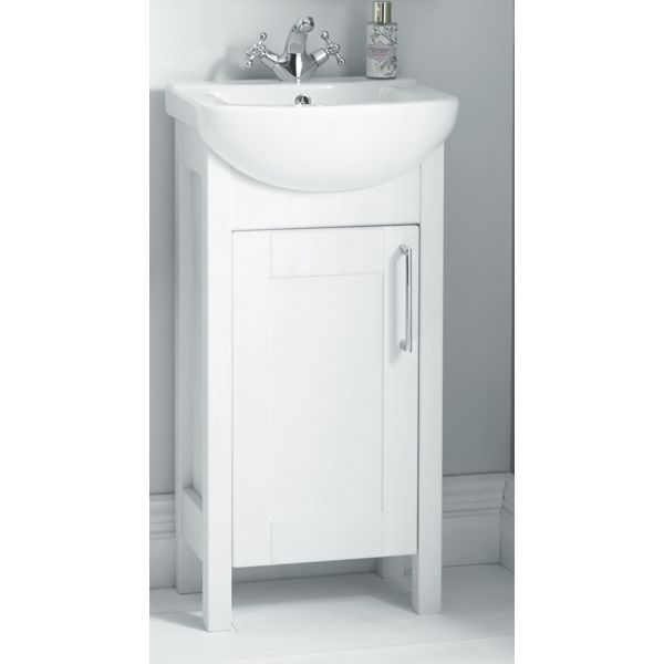 Wickes Frontera Freestanding Traditional White Vanity Unit with Basin - 830 x 445mm