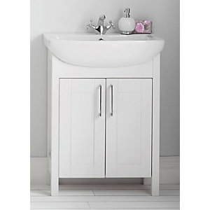 Frontera Freestanding Traditional White Vanity Unit with Basin - 830 x 645mm
