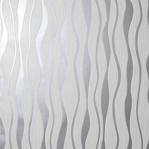 Arthouse Metallic Wave White & Silver Wallpaper 10.05m x 53cm