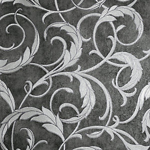 Arthouse Luxe Scroll Grey & Silver Wallpaper 10.05m x 53cm