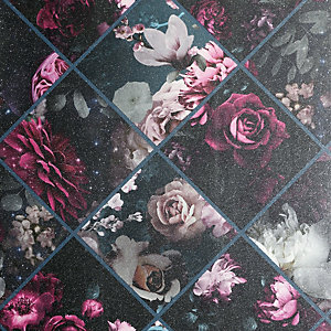 Arthouse Floral Collage Plum & Teal Wallpaper 10.05m x 53cm